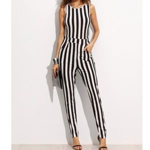 Striped Sleeveless Jumper BodySuit in Crew Neck